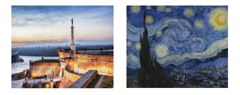 Neural style transfer, images which are used in the process of transfer; content photo (left), image of the painting (right), The image after style is transfered, picaso image, computer vision