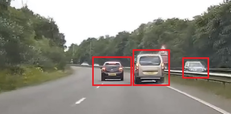 Example of object detection, detecting cars, computer vision
