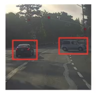 An example of object detection on a car, object detection