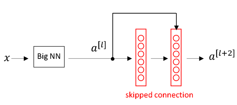 A big neural network with a skipped connection