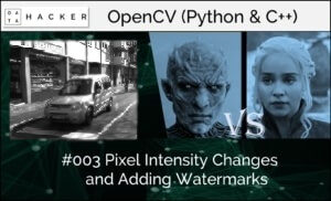 opencv - pixel intensity changes and adding watermarks