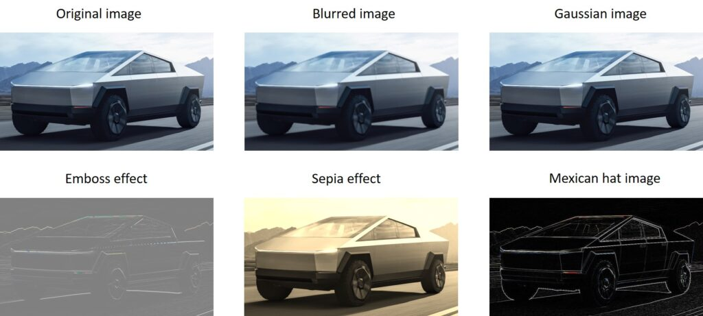 Emboss and sepia efect in OpenCV