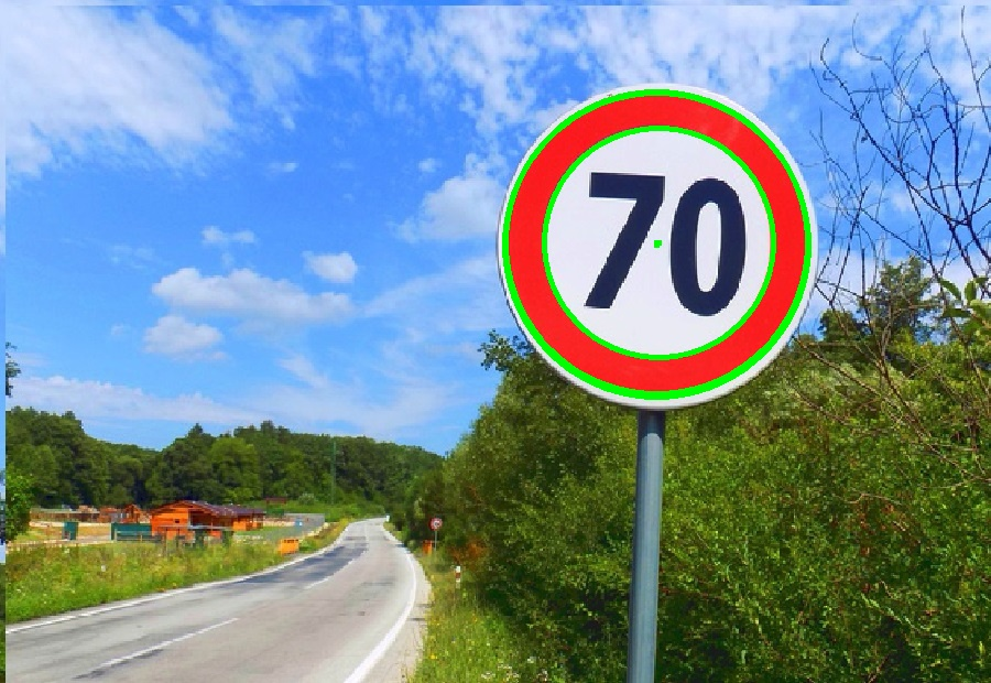 detecting a circle on a speed limit sign hough transform