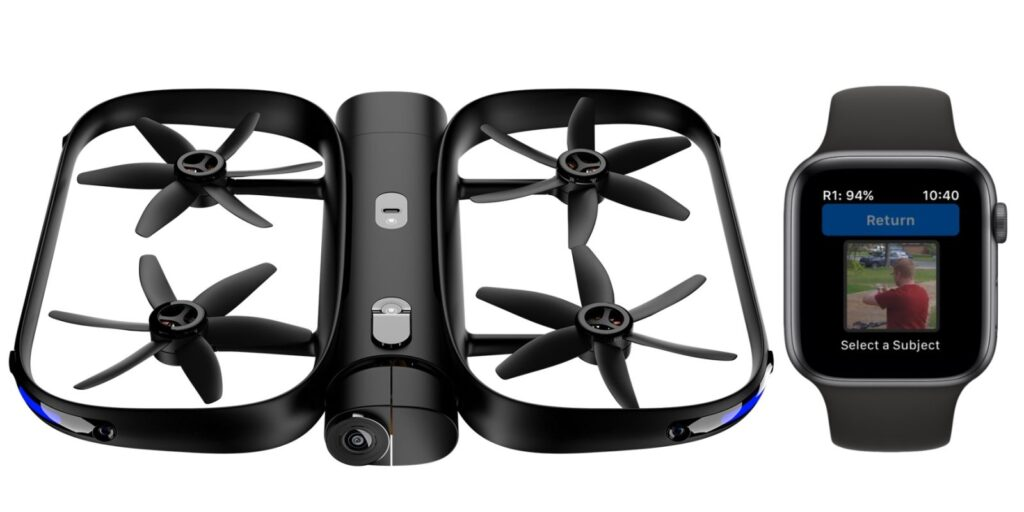 skydio 2 intelligent drone controlled with an ios apple watch device
